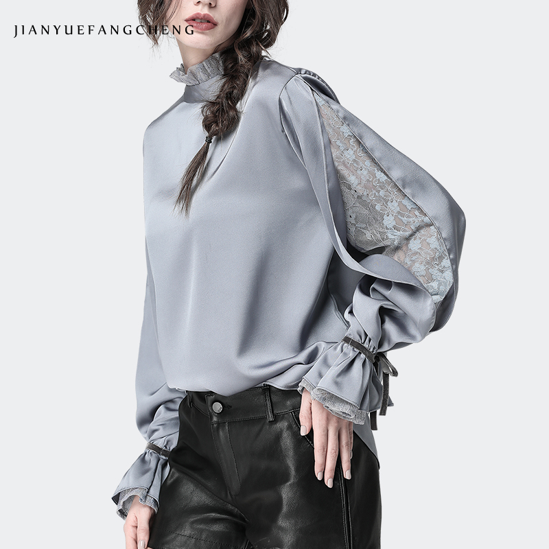 Satin Women' Blouse Stand Ruffled Collar Split Lace Sleeve Loose Plus Size Ladies Tops Fashion New 2019 Female Tops And Blouses