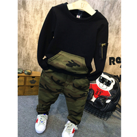 Kids Clothes Cool Boys Clothing Sets 2016 Autumn Sport Suit Full Sleeves Tops Camouflage Pants Suits