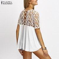 2017 ZANZEA Women Lace Splice Blouses Shirts Elegant O Neck Short Sleeve Hollow Out Casual Loose