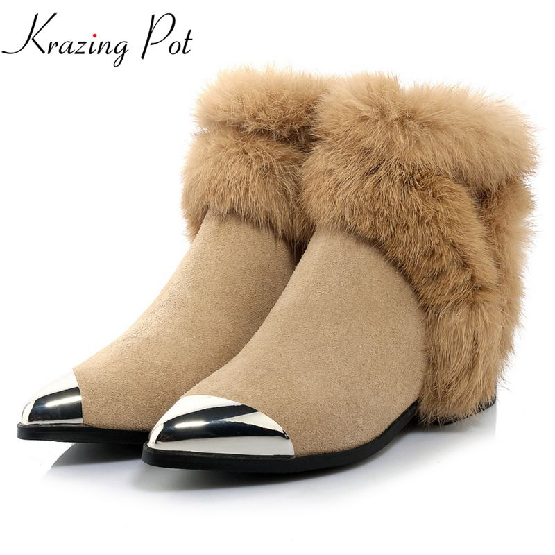 Krazing Pot genuine leather thick heel runway handmade fashion pointed toe winter boots superstar keep warm ankle boots L2f3 krazing pot big szie cow suede slip on thick heel tassel bowtie winter pointed toe fashion superstar runway ankle boots l5f1