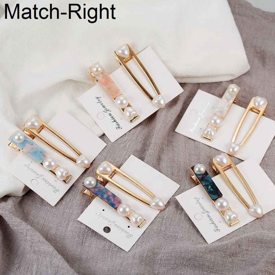 Match-Right 3PCS Pearl Hair Clip Stick Styling Ornaments Crab Bobby Hairpin Hair Jewelry Barrette Tiara Trombone NR184