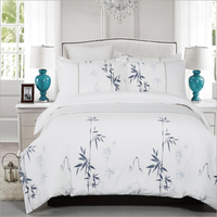 100 Cotton White Bed Sheet Black Bamboo Leaf Mountain Pattern Duvet Cover Bed Sheet Set Reactive