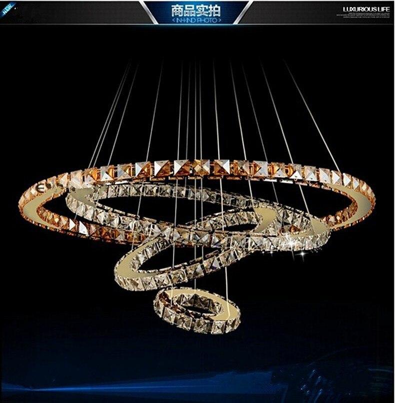 Personalità creativa NUOVO Diamante 4 Anello LED K9 Lampadario di Cristallo di Luce Cerchi Crtstal lampada atmosfera di Lusso consegna gratuita - 4
