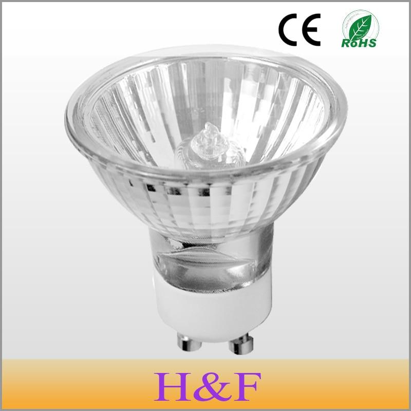 10pcs/lot Dimmable GU10 Halogen Lamp Bulb 50mm 220V 35W 50W 70W Crystal Halogen GU10 Warm White Quartz Glass Indoor Decoration