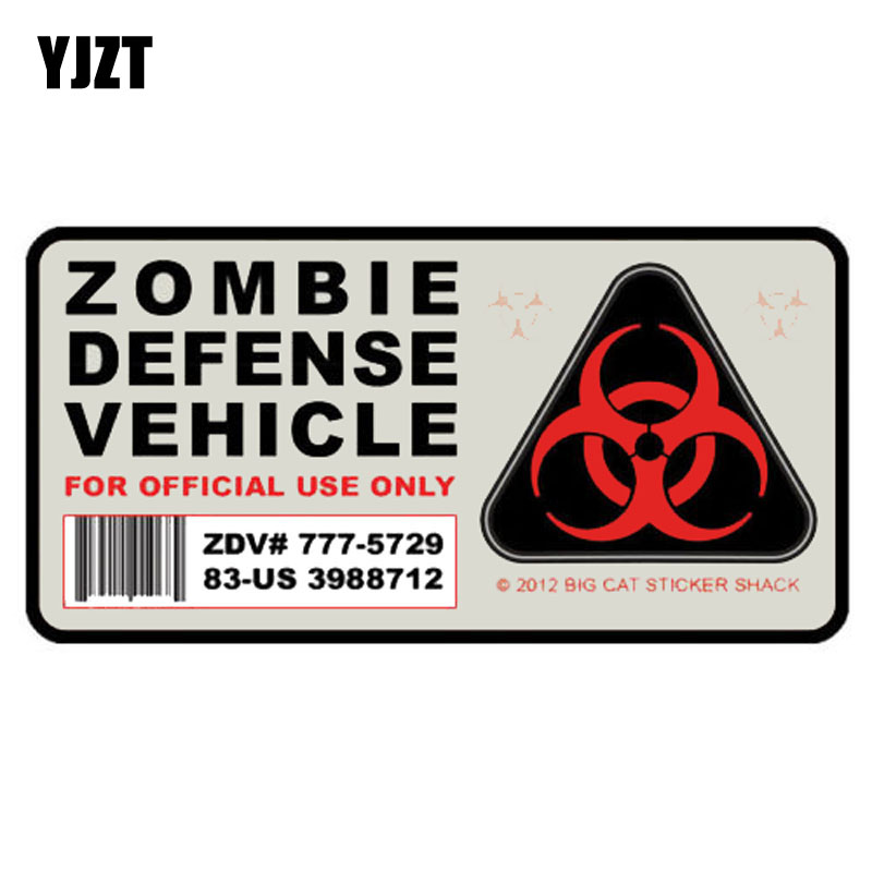 YJZT 12.7CM*6.5CM Amusing Zombie Defense Vehicle Car Sticker Car Window Decal Motorcycle Parts C1-7466