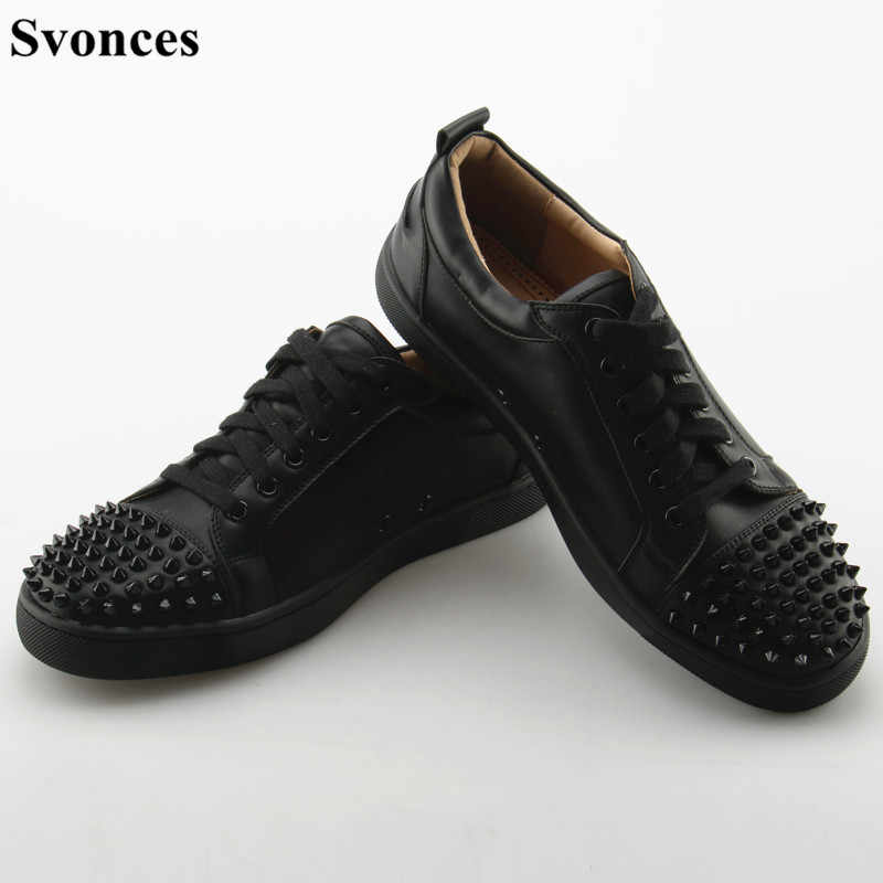 Svonces Top Quality Black Men Male Casual Shoes Patchwork Leather Spike Toe  Low Top Red Thick 2ac7086979ca