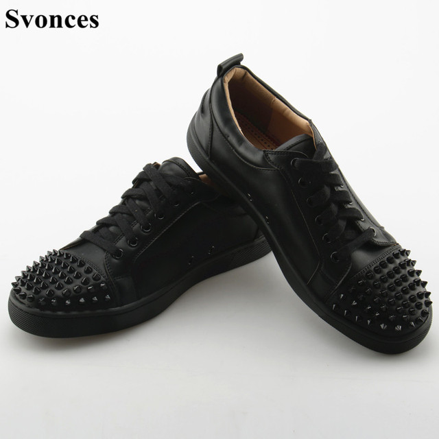 1c642f07e884 Svonces Top Quality Black Men Male Casual Shoes Patchwork Leather Spike Toe  Low Top Red Thick Sole Luxury Brand Men Flats Shoes