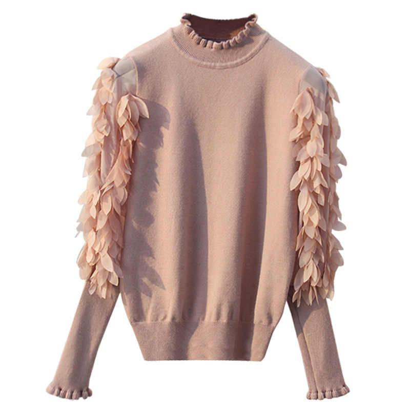 HLBCBG Ruffled Collar Knitted Women Sweater Spring Autumn Loose Jumper Fashion Flowers Sleeves Sweater and Pullover Femme Pull