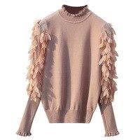 HLBCBG вязанный женский свитер с гофрированным воротником, весна-осень, свободный джемпер, модный свитер и пуловер с цветочным принтом, Femme Pull