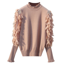 HLBCBG Ruffled Collar Knitted Women Sweater Spring Autumn Loose Jumper Fashion Flowers Sleeves and Pullover Femme Pull