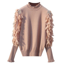 HLBCBG Ruffled Collar Knitted Women Sweater Spring Autumn Loose Jumper Fashion Flowers Sleeves Sweater and Pullover Femme Pull(China)