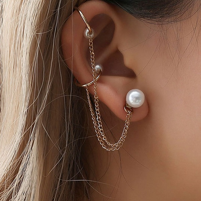 Punk Rock Leaf Chain Tassel Dangle Ear Cuff Wrap Earring Gold Color Earrings In Jewelry 1 Pcs