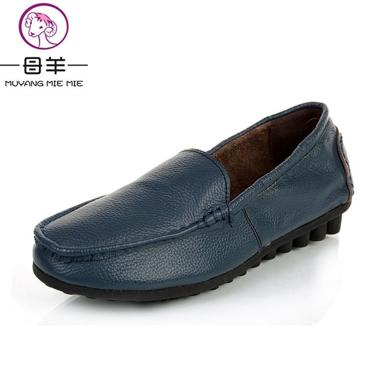 Pour Plats Mode Femmes Muyang Simples rouge Véritable Chaussures Blue En Femelle noir Décontracté Plat Beige vert 2019 Travail Mocassins Mie navy De Cuir CtaYq