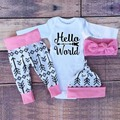 2017 Primavera Outono bebê menino & da menina roupas define roupa do bebê longo manga Romper + calça + chapéu + headband do 4 pcs terno SY178