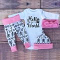 2017 Spring Autumn baby boy &girl clothes sets baby clothing long sleeve Romper + pants + hat + headband 4pcs suit SY178