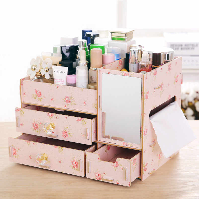 Wooden Chest of Drawers Cosmetics Storage Box Multi-layer Compartment Jewelry Box Sundries Storage Organization With Mirror