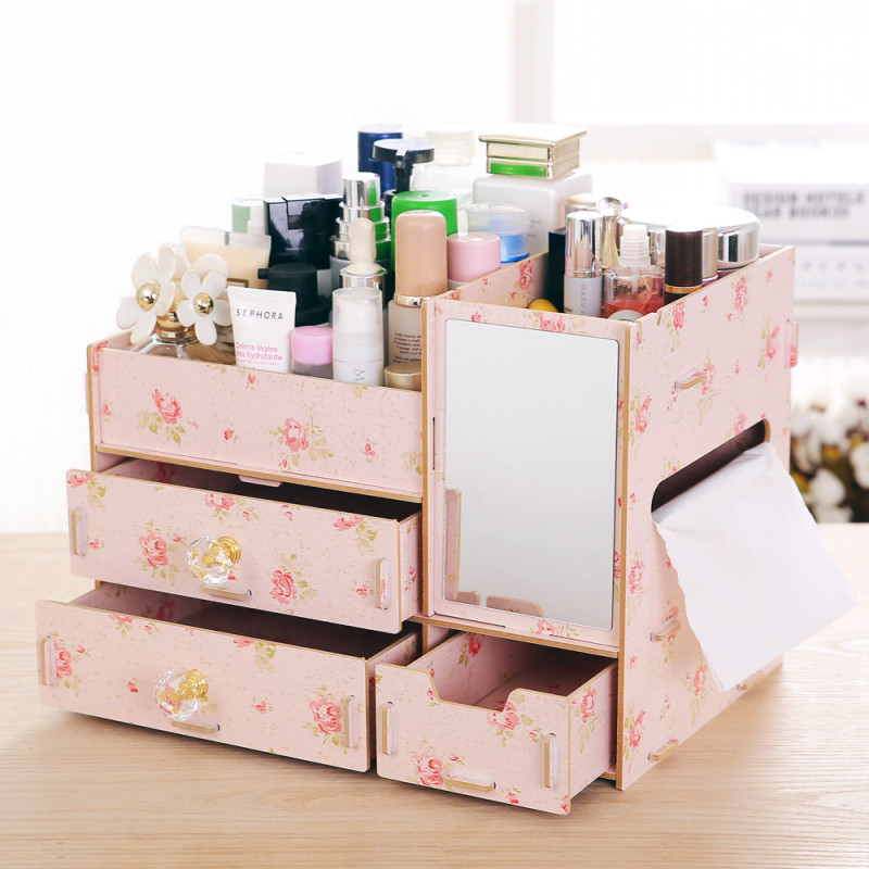 Wooden Chest of Drawers Cosmetics Storage Box Multi layer Compartment Jewelry Box Sundries Storage Organization With Mirror