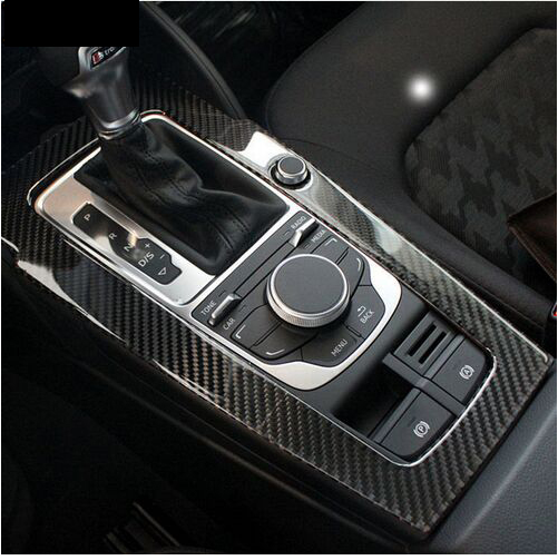 Hot Carbon Fiber Console Gear Shift Panel Decoration Cover Trim For Audi A3 8v 2012 17 Water Cup