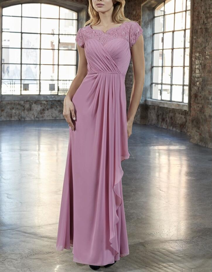New Lace Chiffon Long Modest   Bridesmaid     Dresses   With Cap Sleeves Sweetheart Neck A-line Summer Formal   Bridesmaid   Gown Custom