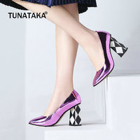 Patent Leather Square High Heel Woman Lazy Pumps Fashion Square Toe Party High Heel Shoes Woman Black Red Purple