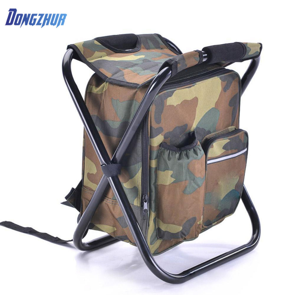 2018 New Foldable Chair Ice Backpack Oxford Cloth&Metal Tube Bag Portable Fishing Equipment for Travel Outdoor Fishing Chair fishing chair backpack camouflage oxford cloth large capacity fishing bag portable foldable stool fishing tackle tool chair bag