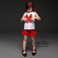 Retail  Summer Girls Clothing Suit  Girls T Shirt With Big Bow And Red Sequin Pants With Fur Children Clothing Suits
