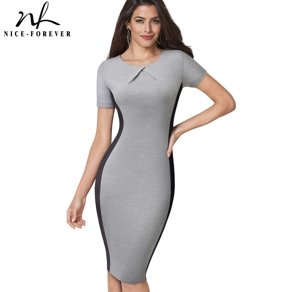Nice-forever Brief Vintage Contrast Color Patchwork Work Vestidos Business Party Bodycon Office Women Sheath Dress B495