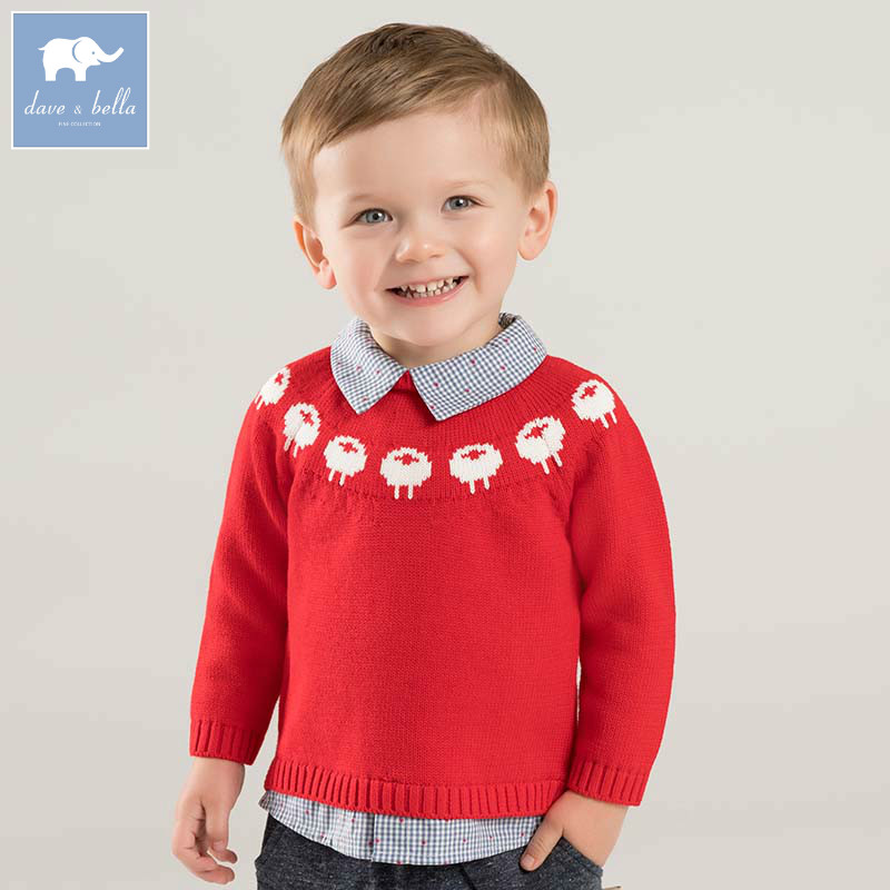 все цены на DB8670 dave bella autumn knitted sweater baby boys fashion pullover kids boutique tops children knitted sweater