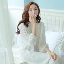 Women Cotton Sleepwear Round neck Nightgown white Women
