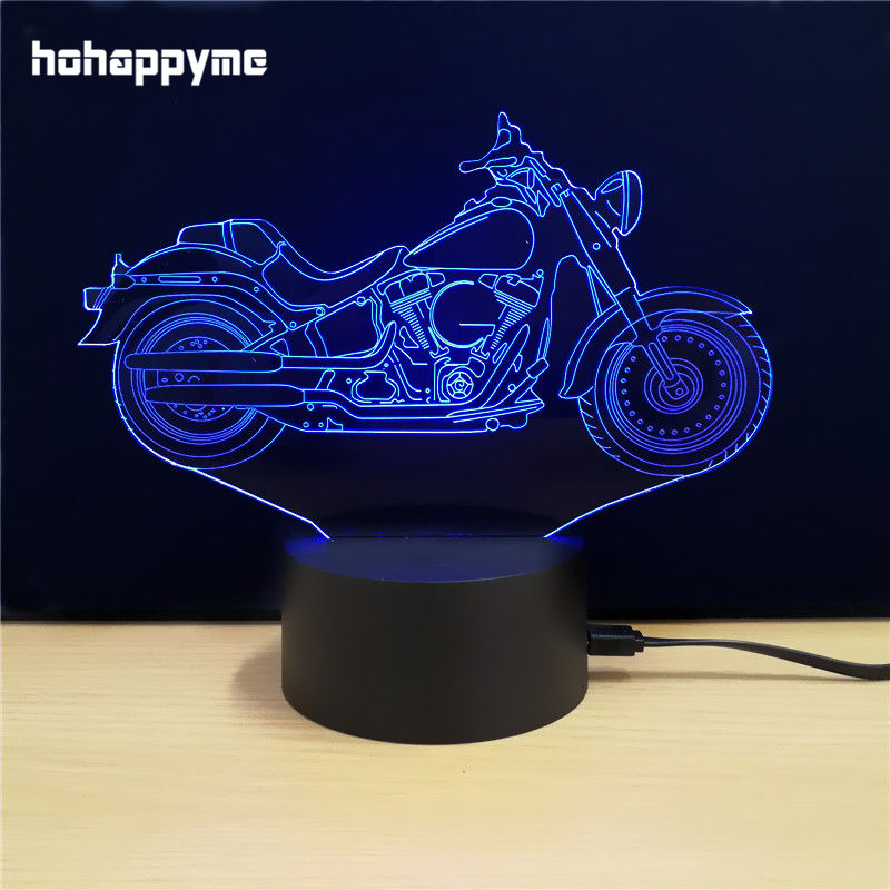 Led Sign Home Decor: Motorcycle 3D LED Light Sign Funny Acrylic LED Sign Home