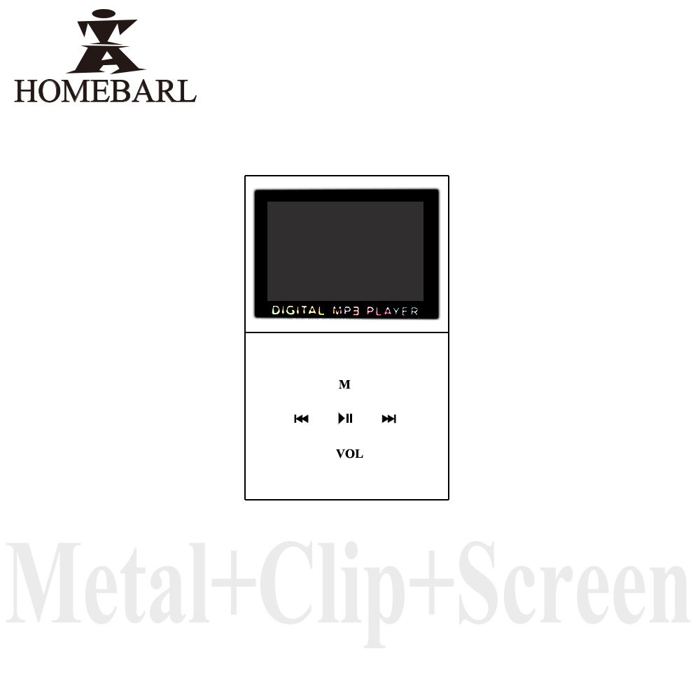 HOMEBARL Hot Sale 1.2'' LCD Screen Mini Portable Clip Metal MP3 Player