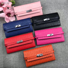 Fashion female ostrich leather wallet polyester casual buckle flip soft new clutch bag purse hand casual multi-function wallet
