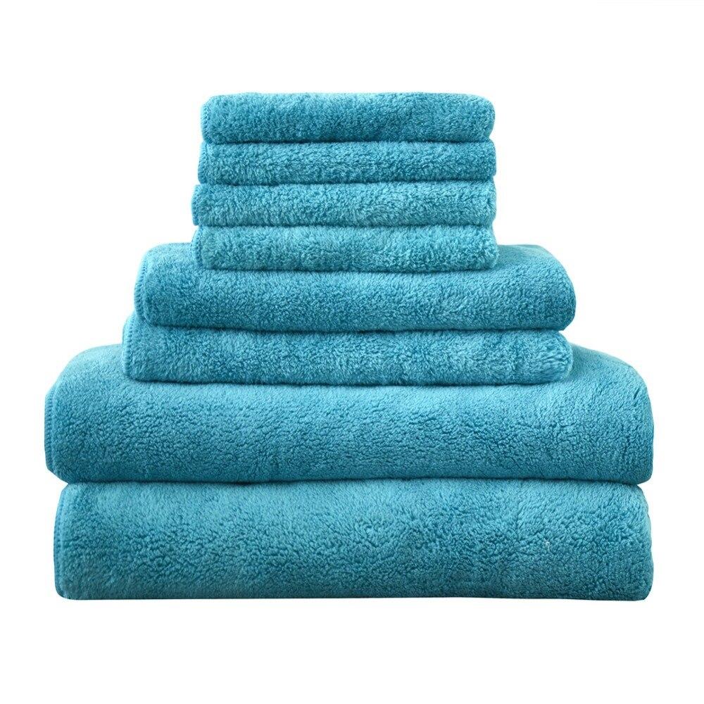 Serviette douce confortable ensemble couleur unie main/visage/cheveux/serviettes de bain lavable en Machine taille Standard 8 pcs/lot serviettes à séchage rapide