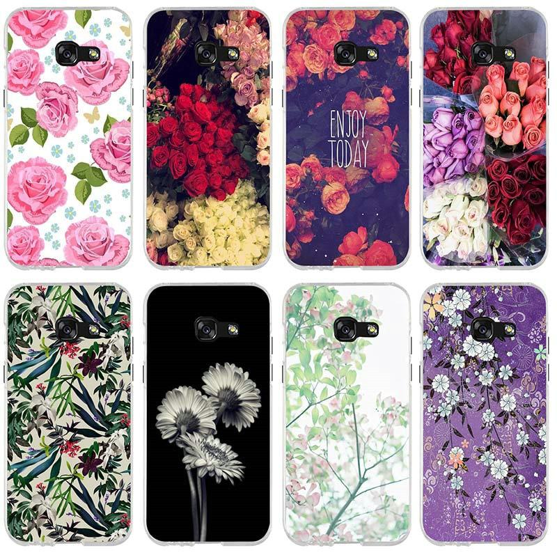 Bandersnatch fleur Peinture Pour Samsung Galaxy A3 A5 A7 J1 J2 J3 J4 J6 J5 J7 J8 2016 2017 2018 Coquille Souple étui de téléphone mobile en ...