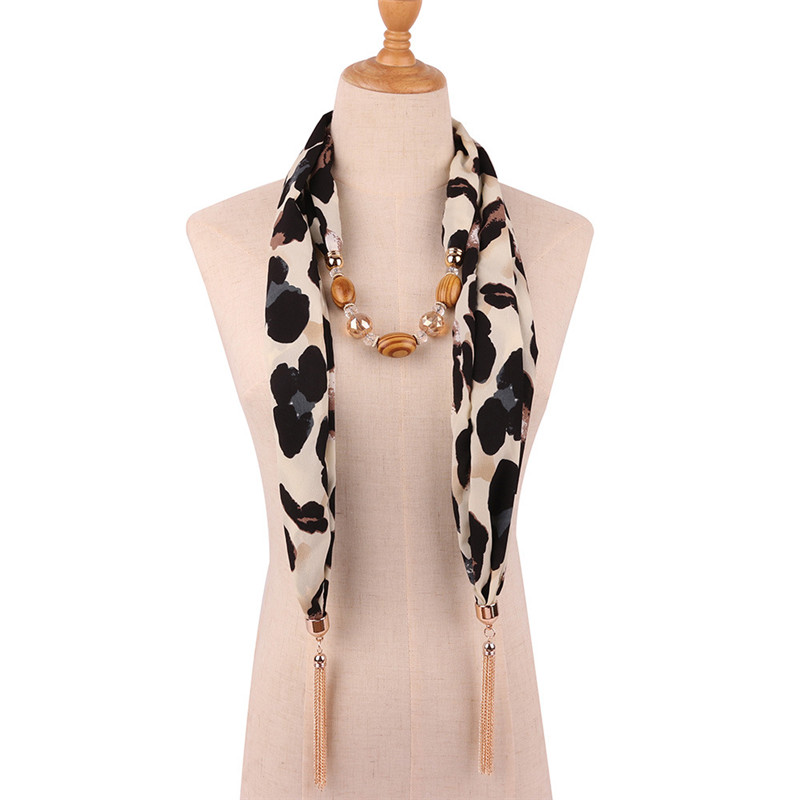 Image 4 - Ahmed 2019 New Fashion Snake/Leopard Printing Pendant Necklace  Scarf for Women Muslim Head Tassel Scarf Female Cloth  AccessoriesPendant Necklaces