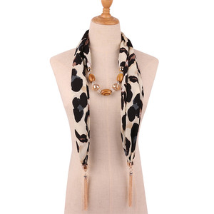 Image 4 - Ahmed 2019 New Fashion Snake/Leopard Printing Pendant Necklace Scarf for Women Muslim Head Tassel Scarf Female Cloth Accessories