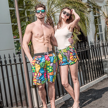 Quick Dry Beach Shorts Men Women Printed Couple Swimwear Elastic Swim Trunks Summer Swimming Briefs