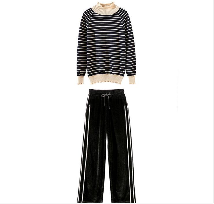 Urumbassa women 39 s casual sets 2018 Spring stripe sweaters velvet Wide leg pants two piece set Chic Leisure suit in Women 39 s Sets from Women 39 s Clothing