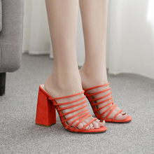 Liren 2019 Summer Fashion Orange Lady Sweet Flock Sandals Narrow Band Square Heels Slip-On Gladiator Size 35-42