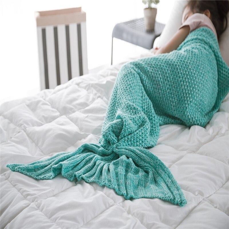 1 Pc Gebreide Mermaid Tail Deken Beddengoed Sofa Slaapzak Inbakeren Mermaid Deken Little Staart Throw Bed Wrap Deken Voor Baby Hooggeprezen En Gewaardeerd Worden Door Het Consumerende Publiek