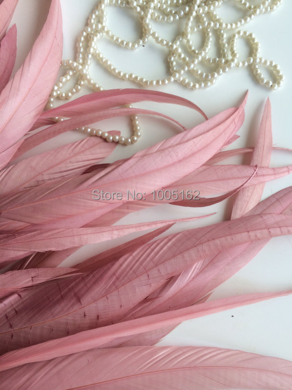 Free Shipping 500 pcs 12 14inch 30 35cm rose pink Coque Feathers Rooster Tail feather loose