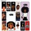 N'DJAMENA Coque de téléphone Afro Filles mince Souple Tpu Silicone Cas de Téléphone pour Samsung Galaxy S9 S8 Plus S7 Bord Note 9 8 retour Couvercle Transparent