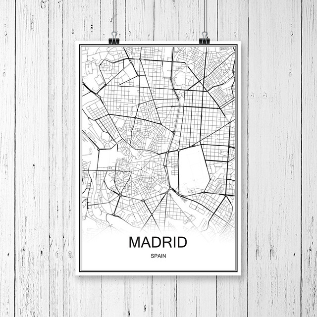 Map Of Spain For Printing.Us 1 99 Madrid Spain City Map Vintage Poster Abstract Coated Paper Print Picture Bar Cafe Pub Living Room Wall Painting 42x30cm In Wall Stickers