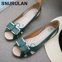 SNURULANSummer new bow mother flat sandals leather fashion women's fish head sandals elderly comfortable casual women shoes E636