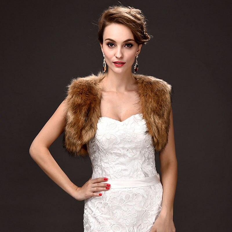 Wholesale Free Shipping 1pc Brown Faux Fur Wedding Bridal Wrap Shawl Jacket Coat Evening Bolero Free Size