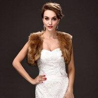 Wholesale Freies Verschiffen 1 stück Braun Faux Fur Hochzeit Braut Wrap Schal Jacke Mantel Abendkleid Bolero Freie Größe