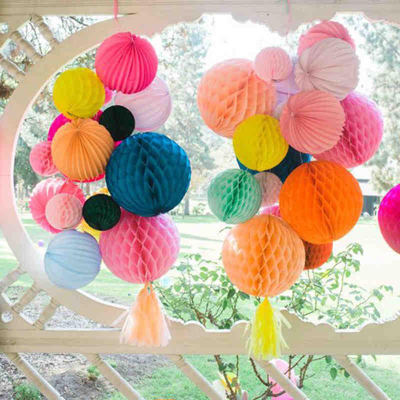 (4 Size) Tissue Paper Lantern Honeycomb Ball Hanging Flower Birthday Wedding Party Decoration Paper Honeycomb Crafts Baby Shower