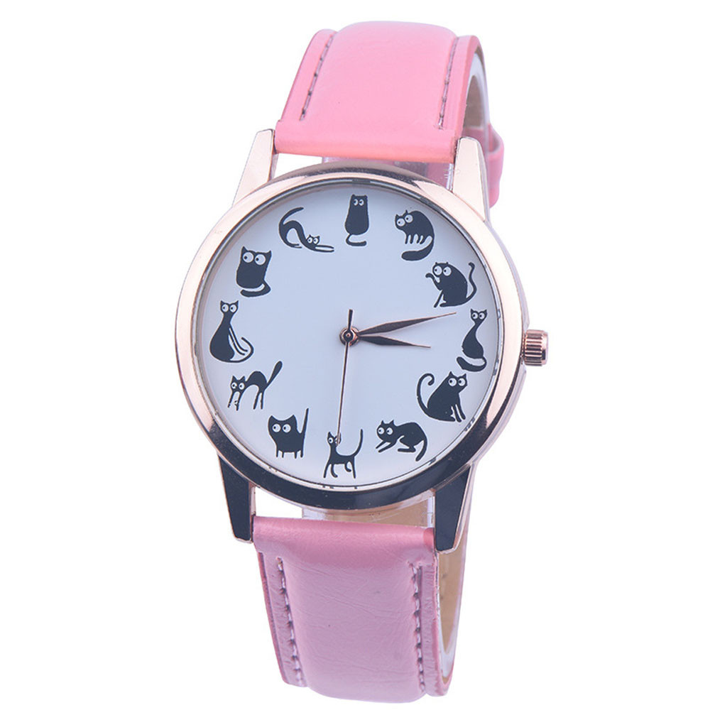 New Fashion Women Watches montre femme Casaul Cat Pattern Leather Band Quartz Watches Women Relogio Feminino Bayan Kol Saati @F retro design leather band analog alloy quartz wrist watch relogio feminino women watches reloj mujer bayan kol saati