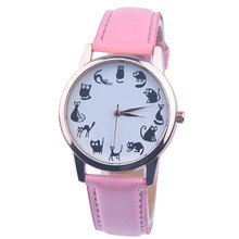 New Fashion Women Watches montre femme Casaul Cat Pattern Leather  Qua