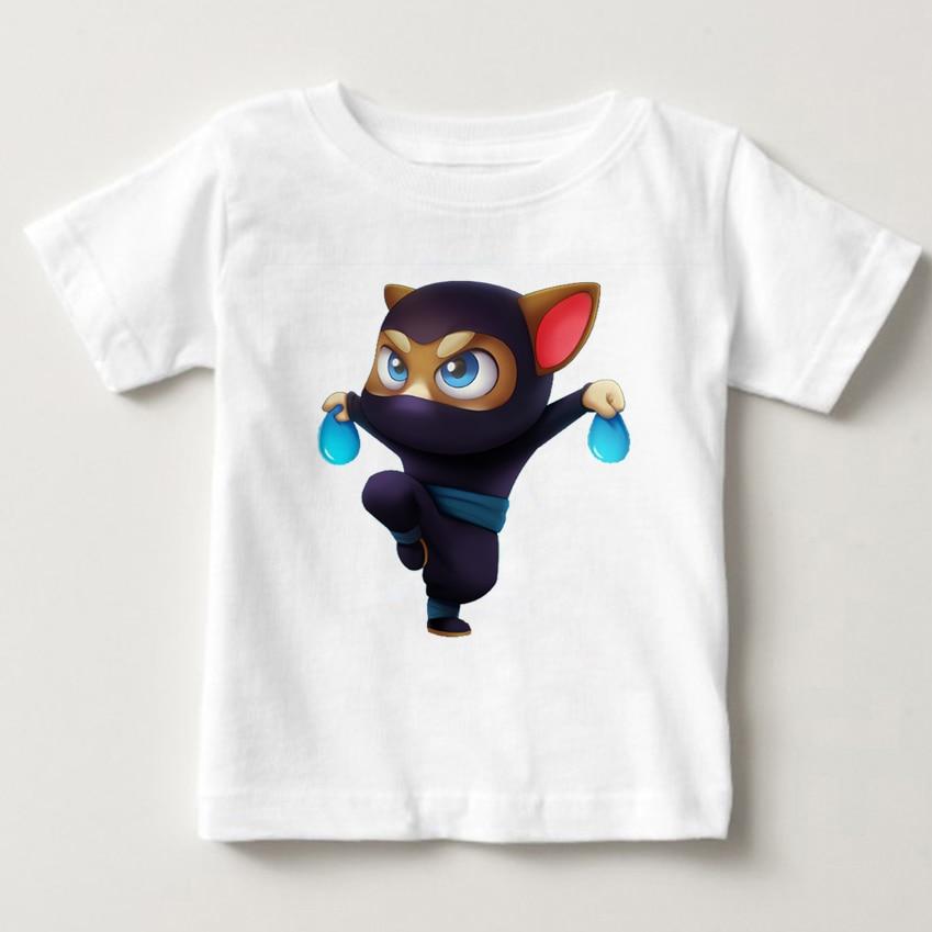 Cartoon printed children summer cotton T-shirt talking cat game boy/girl tops breathable comfort TShirt Funny Cartoon tops MJ 3